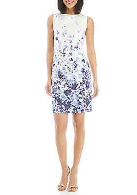 a1b1c3ab38 AGB Blue Floral Sheath Dress ...