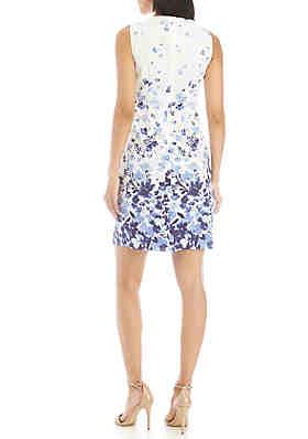 5eab49edb0 AGB Blue Floral Sheath Dress AGB Blue Floral Sheath Dress
