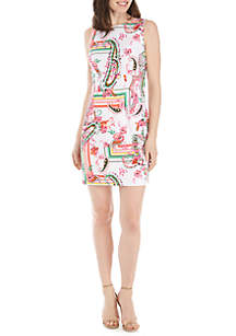 AGB Sleeveless Floral Sheath Dress