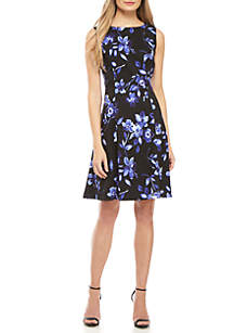 AGB Sleeveless Floral Fit and Flare Dress