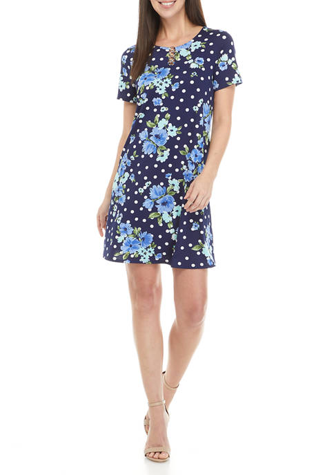 AGB Womens Dot Floral Short Sleeve 3-Ring A-Line