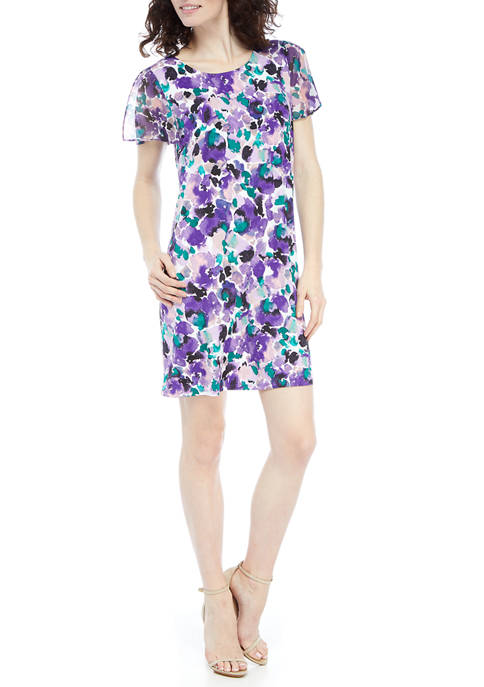 AGB Womens Floral Chiffon Flutter Sleeve A-Line Dress