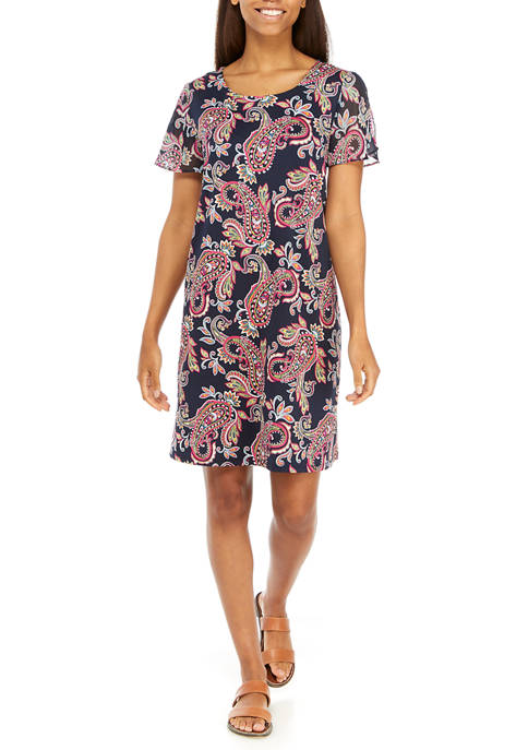 AGB Womens Floral Chiffon Flutter Sleeve A-Line Dress