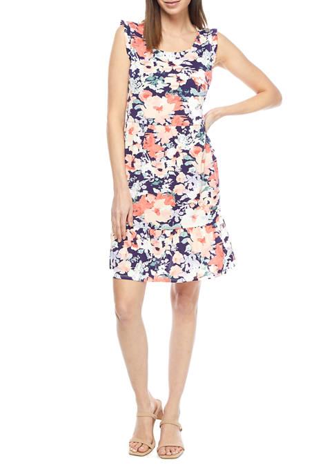 AGB Womens Floral Flounce Hem Babydoll Dress