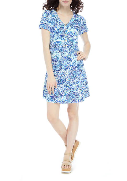 AGB Womens Flutter Sleeve Paisley V-Neck Babydoll Dress