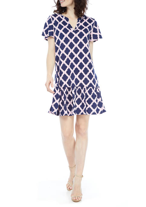 AGB Womens Flutter Sleeve Geometric A-Line Dress