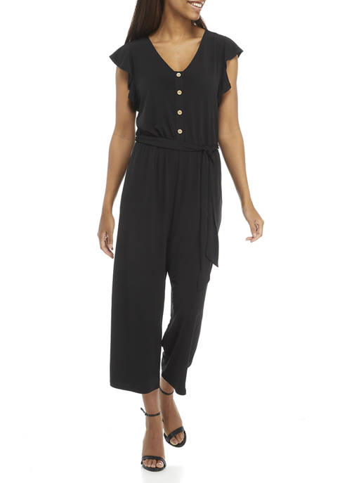 AGB Womens Flutter Sleeve Cropped Jumpsuit