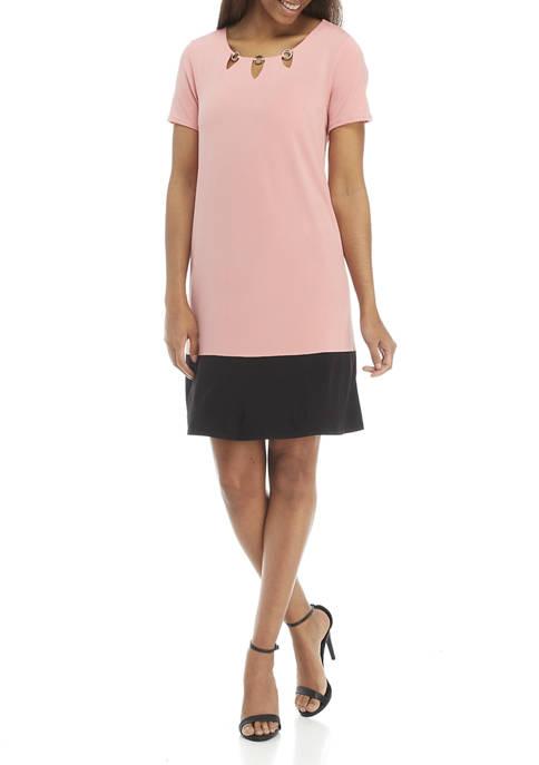 Womens Short Sleeve Color Block A Line Dress