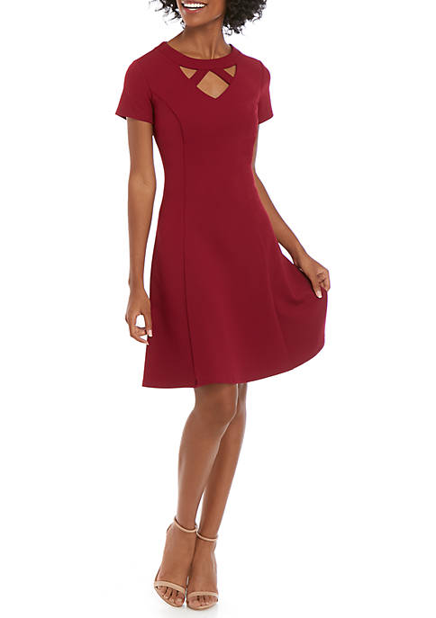 Solid Cut Out Neck Fit and Flare Dress