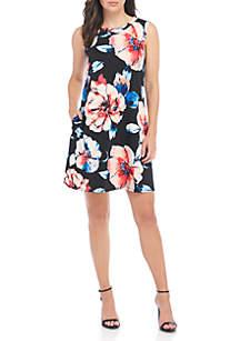 Sleeveless Floral A-Line Shift Dress