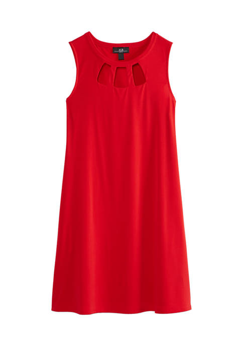 AGB Womens Solid Cut Out A Line Dress