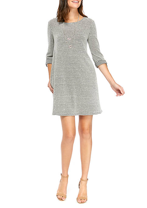 AGB Womens Tab Sleeve Dress with Necklace