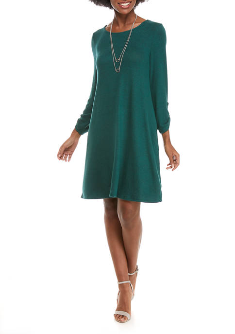 AGB Womens Solid Necklace Dress