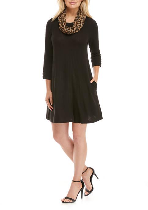 Womens Dress with Plaid Scarf