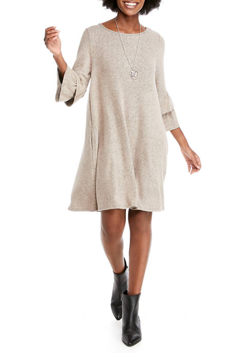 AGB Womens Ruffle Sleeve Fuzzy Dress with Necklace