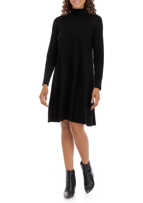 AGB Womens Long Sleeve Turtleneck A-Line Dress