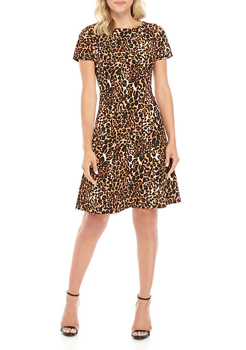 AGB Textured Cut Out Shoulder Animal Print Dress