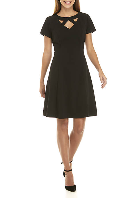 AGB Solid Fit and Flare Dress with Cutout
