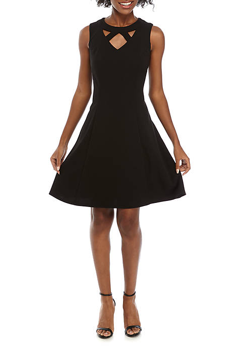 AGB Sleeveless Cutout Neck Scuba Crepe Dress
