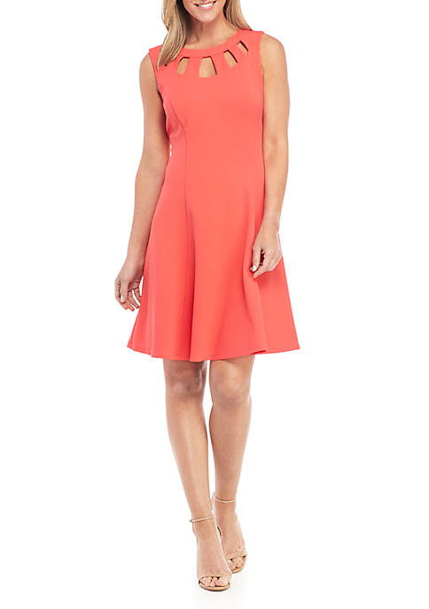 AGB Sleeveless Cutout Neck Fit and Flare Dress