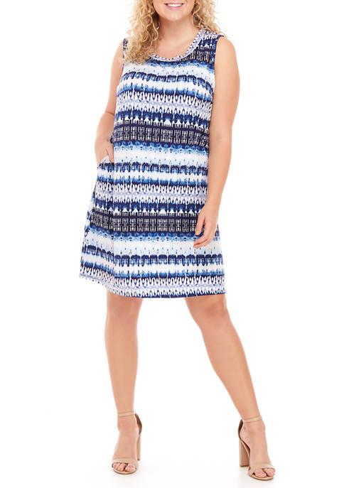 Plus Size Tie Dye A-Line Dress
