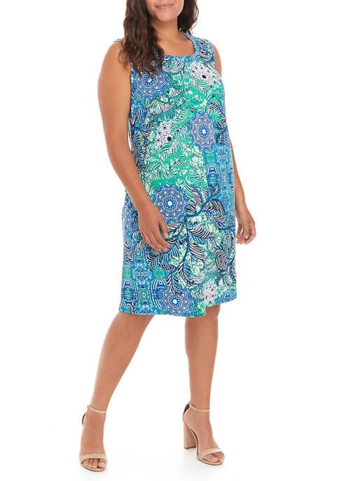 Plus Size Floral A-Line Dress