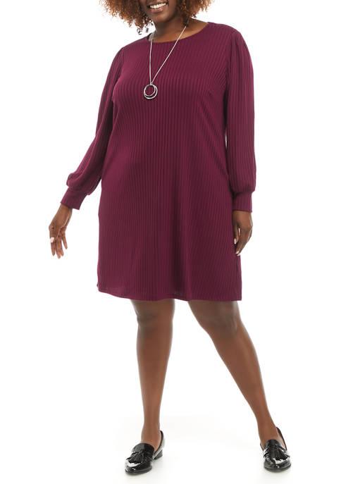 AGB Plus Size Long Puff Sleeve Swing Dress