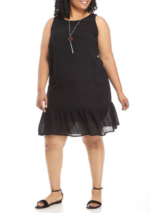 AGB Plus Size Gauzy Textured Sleeveless Shift Dress