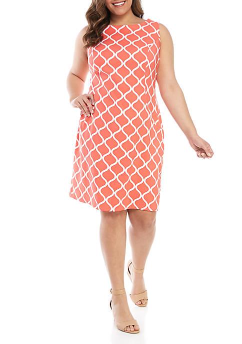 AGB Plus Size Sleeveless Grid Sheath Dress