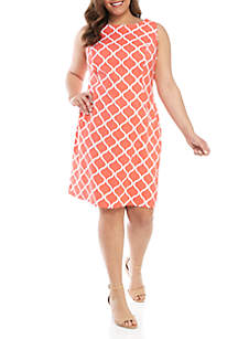 AGB Plus Size Sleeveless Grid Sheath Dress