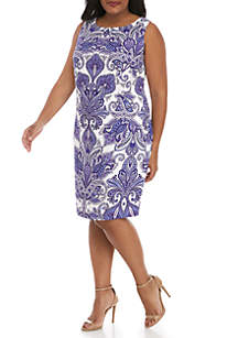 AGB Plus Size Mirror Print Sheath Dress