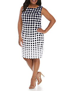 AGB Plus Size Sleeveless Graduated Dot Sheath Dress