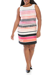 AGB Plus Size Stripe Sheath Dress