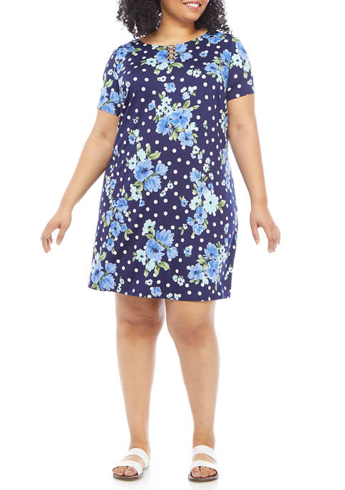 Plus Size Dot Floral A Line Dress