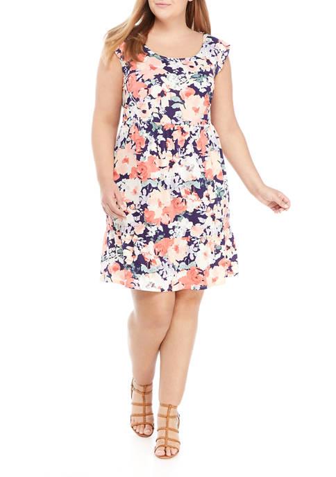 Plus Size Sleeveless Floral Flounce Hem Babydoll Dress