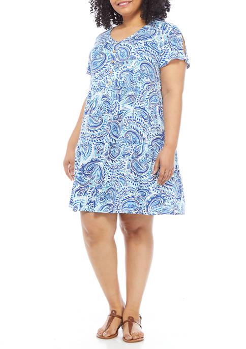 AGB Plus Size Paisley Split Sleeve Babydoll Dress