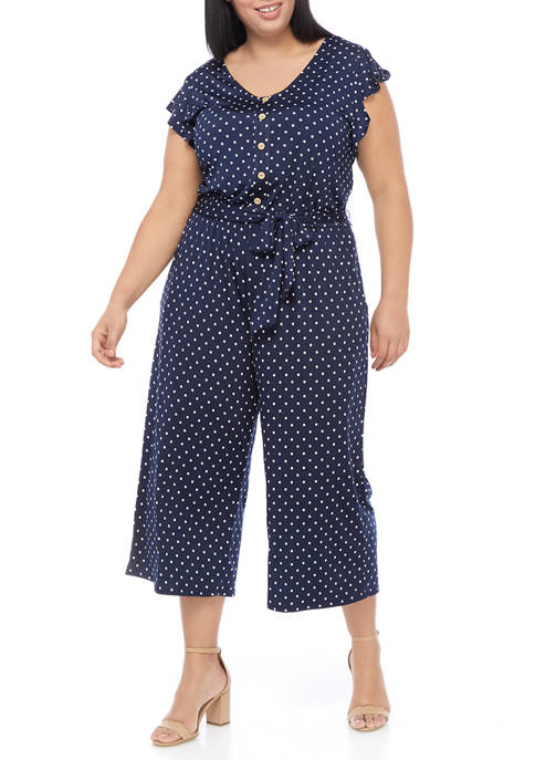 AGB Plus Size Flutter Sleeve Dot Cropped Jumpsuit