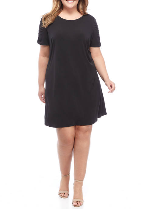 AGB Plus Size Ruched Sleeve X-Back A-Line Dress