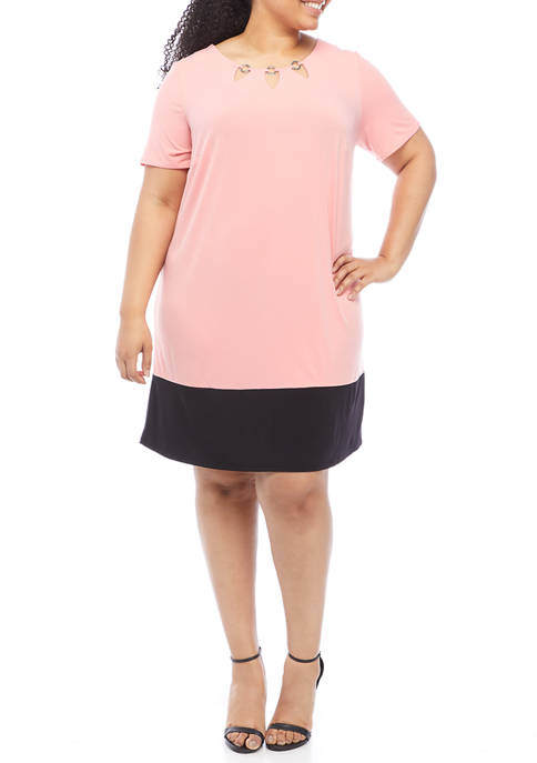 AGB Plus Size Short Sleeve Hardware Colorblock A-Line