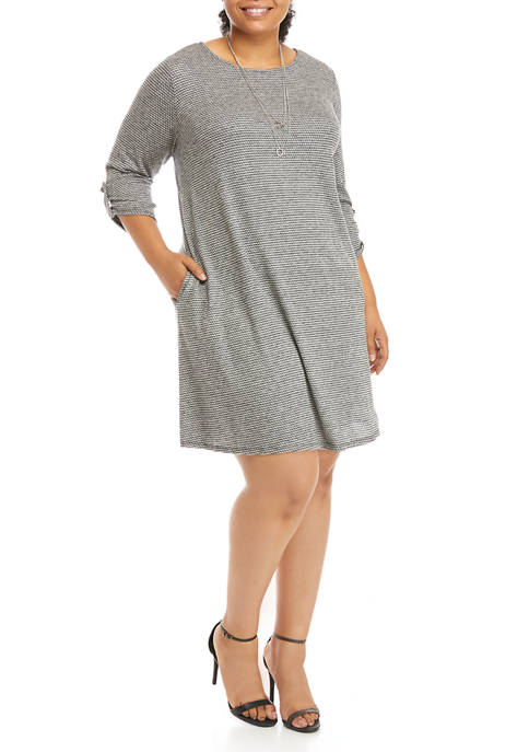 AGB Plus Size A Line Dress with Necklace
