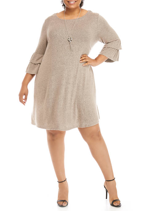 Plus Size Ruffle Sleeve Dress with Necklace