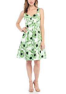 Printed Sweetheart Neckline Fit and Flare Dress