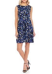 Sleeveless Printed Trapeze Dress