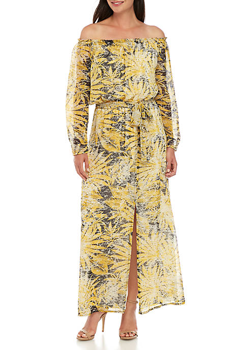 Off the Shoulder Printed Maxi Dress with Raglan Sleeves