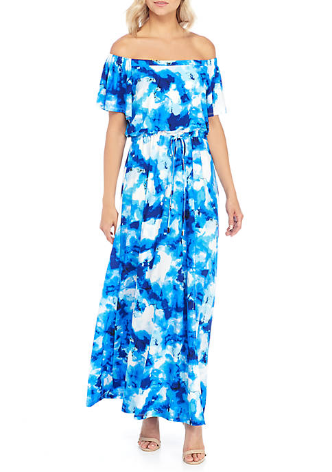 Nine West Off-The-Shoulder Maxi with Tie Waist