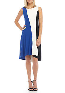 Sleeveless High Low Colorblock Swing Dress
