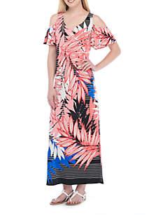 Cold Shoulder V-Neck Flutter Sleeve Maxi Dress