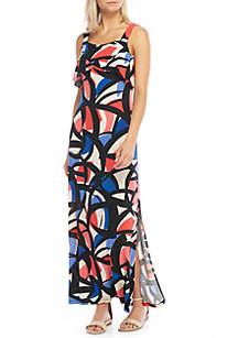Sleeveless Maxi Dress with Flounce Detail