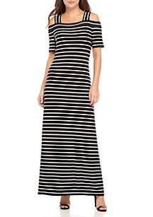 Cold-Shoulder Stripe Maxi Dress