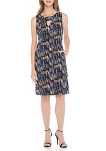 Sleeveless Keyhole Printed Shift Dress